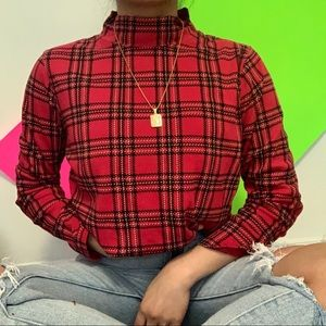 Sweaters - red plaid turtleneck sweater ✧